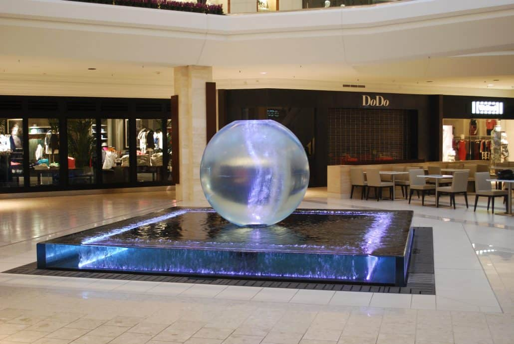 Short Hills Mall Sphere and Wall Fountain